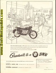 1963 ''Graduate to a BMW'' Motorcycle Ad