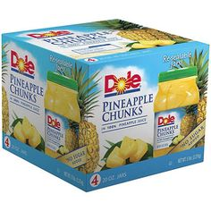 http://worldgrocerystoreandmore.ecrater.com/p/23243732/ Dole Pineapple Chunks in 100% Pineapple Juice - 20 oz. Resealable Jars - 4 ct.   Feel revitalized with the fresh sweet, juicy taste of sun-ripened Dole Pineapple Chunks in 100% Pineapple Juice. Rich in nutrients, fruit gives you healthy energy so you feel refreshed and ready to shine.