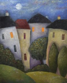 Moon over old houses by Jeremy Mayes