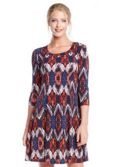 Karen Kane  Pacific Ikat A-Line Dress