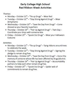 Early College High School - Red Ribbon Week Activities