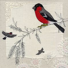 LARGE BULLFINCH.  Machine and hand embroidery on vintage handkerchief and raw silk background.  Embroidery measurements 33 x 33cm.  Outer frame measurements 43 x 43cm.