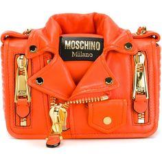 Moschino Biker Shoulder Bag ($1,595) ❤ liked on Polyvore featuring bags, handbags, shoulder bags, orange, biker handbags, moschino purse, shoulder handbags, moschino handbag and shoulder hand bags
