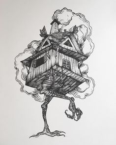 The house of baba yaga; ink on paper. Baba Yaga House, Myths & Monsters, Home Tattoo, Horror, Fantasy Illustration, Conte, Dungeons And Dragons, Dark Art, Art Inspo