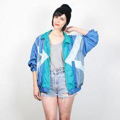 Vintage 80s Bomber Jacket Teal Blue Green Gray Color Block Wind Breaker Sporty…