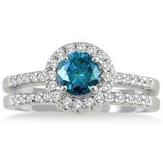1 1/6 CTW Natural Blue and White Diamond Bridal Set in 10K White Gold