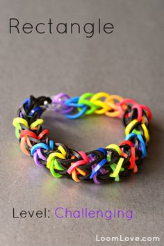 How-to: Make a Rectangle Rubber Band Bracelet #rainbow #loom