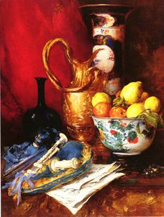 VOLLON, Antoine French Realist (1833-1900)_A Still Life with a Bowl of Fruit