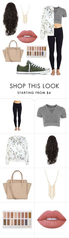 """""""Untitled #234"""" by cookiescore on Polyvore featuring Beyond Yoga, Topshop, New Look, Converse, Salvatore Ferragamo, Gemelli and Lime Crime"""