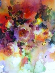 Yuko Nagayama ,Watercolor. The blurred flow of paint down from the corner adds emphasis to the detail in the rose focal point