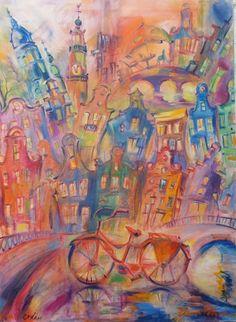 Bicyclette rouge à Amsterdam - huile sur toile - Elene Polyakova (1970-)