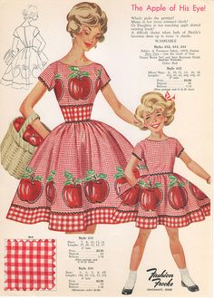 Mother and daughter matching summer dress set from 1960