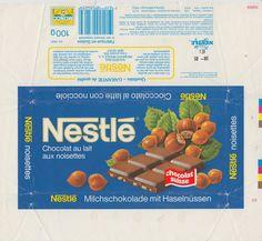 Noisettes  Milchschokolade mit Haselnüssen 1984 1984, Swiss Chocolate, Milky Bar Chocolate