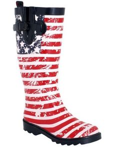 Capelli New York Shiny American Flag Printed With Buckle Ladies Rain Boot Capelli New York. $24.99