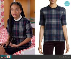Zoey's plaid short sleeve top on Black-ish.  Outfit Details: http://wornontv.net/54861/ #Blackish
