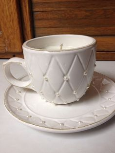 Lavender Mint Teacup Candle on Etsy, $10.00