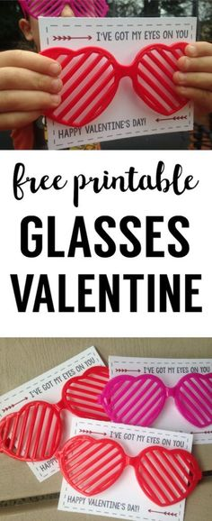 Free Printable Valentine Heart Glasses. Print this free Valentine and attach some glasses for a great DIY no-candy Valentine.