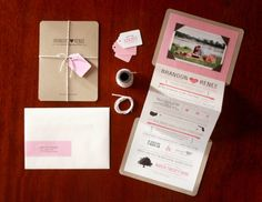 A sweet save the date sharing the bride + groom's love story using fun illustrations and typography.