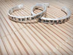 Silver hammered lettering bangle