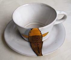 Yellow & Grey Koi - Mervyn Gers Ceramics