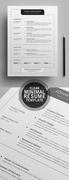 Clearn Minimal CV Resume Template 2018 Graphic Design Fonts Cv