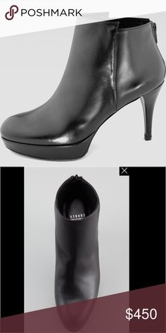 """Stuart Weitzman Swell Calfskin Platform Booties Sexy black leather booties in pristine condition. 4"""" shaft that hits the ankle at just the right spot. 3.5"""" heel, 1"""" platform...you will be able walk ( or dance!) in these all day long. Made in Spain. Stuart Weitzman Shoes Ankle Boots & Booties"""