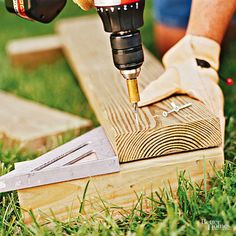 Start with four 1-foot-long 4x4s for the corner posts; eight 4-foot-long 2x6s for the side rails; and four 2-foot-long 2x2s for the center stakes. Position your 4x4s on each corner of your square to form a garden bed frame. Then pick a wall to start with and screw your first 2x6 to connect the corners of the raised bed. Stack a second 2x6 on top of the first. The ends of the 2x6 boards should be even with the sides of the post. Use an angle-square to make sure the rails and posts are lined…