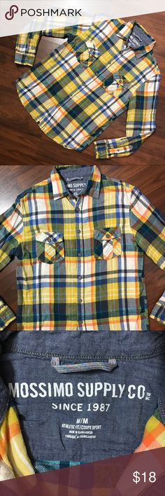 "Mossimo Plaid Tartan Print Button Down Flannel M Mossimo Plaid Tartan Print Mustard Blue Lightweight Button Down Flannel Medium  *Shirt shows signs of wear and wash. Pre-pilling. Please see pictures.  Measurements: 38"" Chest 26"" Length Mossimo Supply Co Shirts Casual Button Down Shirts"