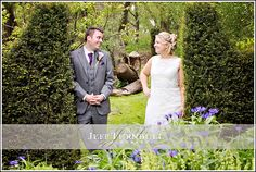 Bride & groom in the gardens at The Barn Brasserie Wedding venue. Photography by www.JeffTurnbull.co.uk