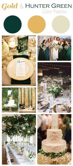 Wedding Themes Gold and Hunter Green Wedding Color Palette // AKA a Baylor wedding color palette! - This gold and hunter green wedding color palette is perfect if you are looking for an elegant, but earthy color scheme for your wedding or event! Gold Wedding Colors, Winter Wedding Colors, Wedding Themes, Wedding Flowers, March Wedding Colors, Wedding Dress, Emerald Wedding Theme, Themed Weddings, Winter Colors