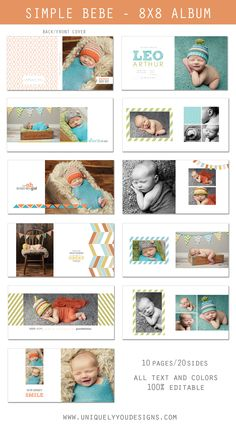 Simple Bebe | 8x8 album templates | www.uniquelyyoudesigns.com