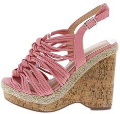 00d680cf04 Aurora123 Mauve Knotted Strappy Open Toe Slingback Cork Wedge. Wholesale  Fashion ShoesCork ...