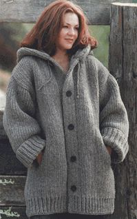 "Danbury Hooded free pattern  Loom: 28"" Knitting Board (84+ needles)"