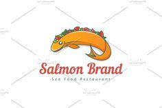 For sale. Only $29 - food, fish, vegetable, animal, sea, river, meal, cooking, salad, salmon, recipe, orange, memorable, illustration, playful, cartoon, filled, stuffed, stuffing, seafood, fishing, restaurant, bistro, taco, eat, logo, design, template,