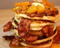 Bacon Buttermilk Pancakes with Caramelized Pineapple Sauce Recipe