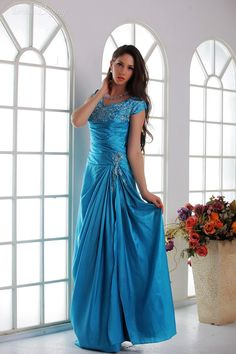 Elegant A-line Short Sleeves Evening/Prom Dresses US$ 132.79