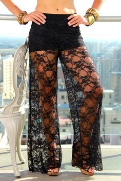 shorts attached black lace wide leg pants