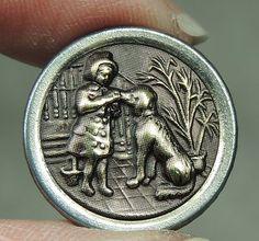 Scarce Brass Picture Button Child Dog Metal   eBay
