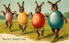 Oh i do love the quirky, this vintage Easter Card is just that.