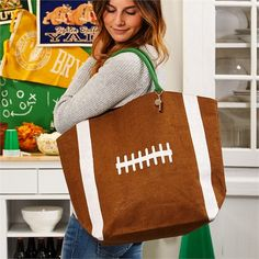 Canvas Football Bags Football Tote Bag Football by TurpinKreations