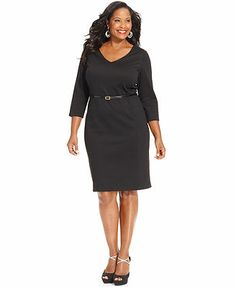 Jones New York Collection Plus Size Three-Quarter-Sleeve Belted Sheath Dress