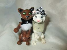 BRIDE AND GROOM CATS polymer clay unique COUPLE set pair artist miniatures mini