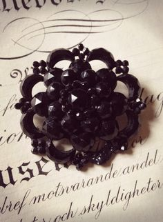 Victorian Mourning Brooch - Black Glass