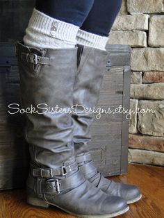 Knee High Boot Socks - 'Fuzzy' Mohair with Custom Button Options! - Sock SIsters on Etsy, $13.50. Want in 3 wooden button in grey!