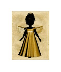 Gold Black Silhouette Angel Print, Angel Wall Art, Angel Print, Digital Download Art, Angel Wall Décor, Heaven Image,Kids Room, Angel Image by ICreateAndCollect on Etsy