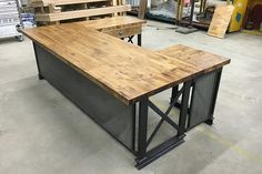 U Shape Executive Carruca Office Desk  | industrial office furniture |  | modern industrial commercial furniture |  | rustic office furniture |  | industrial desk |  |industrial table | http://www.ironageoffice.com/
