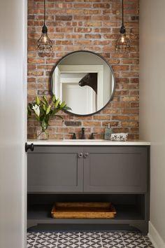 Brick Bathroom, Grey Bathrooms, Basement Bathroom, Small Bathroom, Bathroom Ideas, Bathroom Black, Bathroom Wall, Modern Bathroom Vanities, Bathroom Lighting