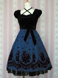 Victorian Maiden Rose Flocky Puff-Sleeve OP