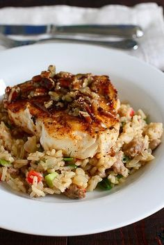 Cajun Halibut with Praline Sauce over Dirty Rice | Annie's Eats