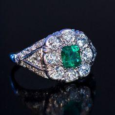 Vintage Art Deco Emerald Diamond Platinum Engagement Ring - Antique Jewelry | Vintage Rings | Faberge Eggs